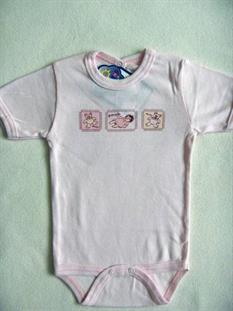 Weekend kojenecké body krátký rukáv - světle růžové