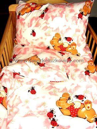 Obliečky do postieľky 135x90 - Lienka ružová